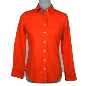 J Crew Haberdashery XS Red Orange Button Shirt